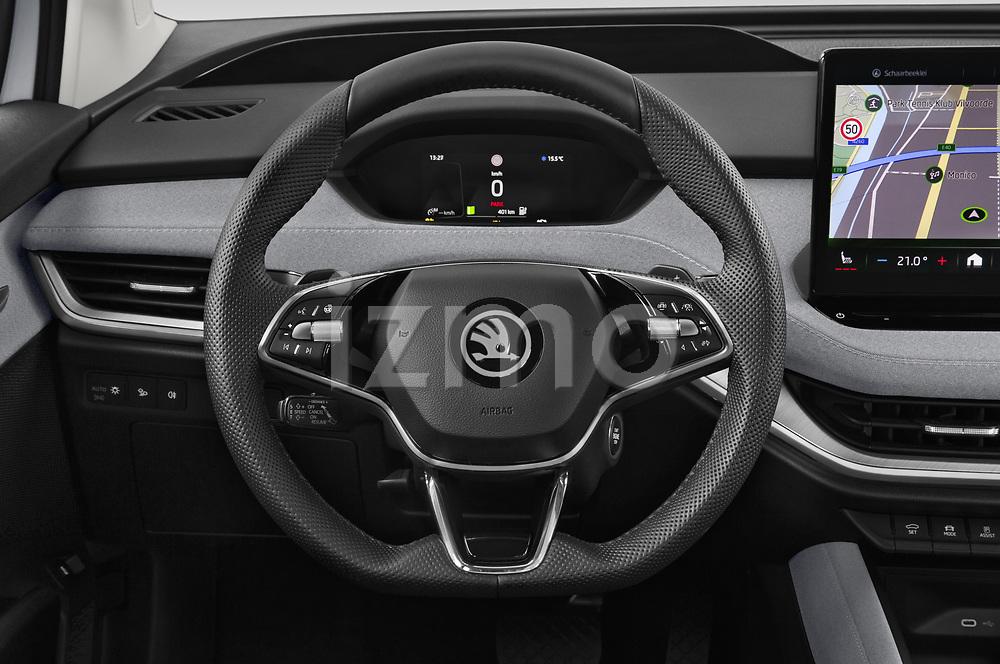 Steering wheel view of a 2021 Skoda Enyaq IV 80 SUV