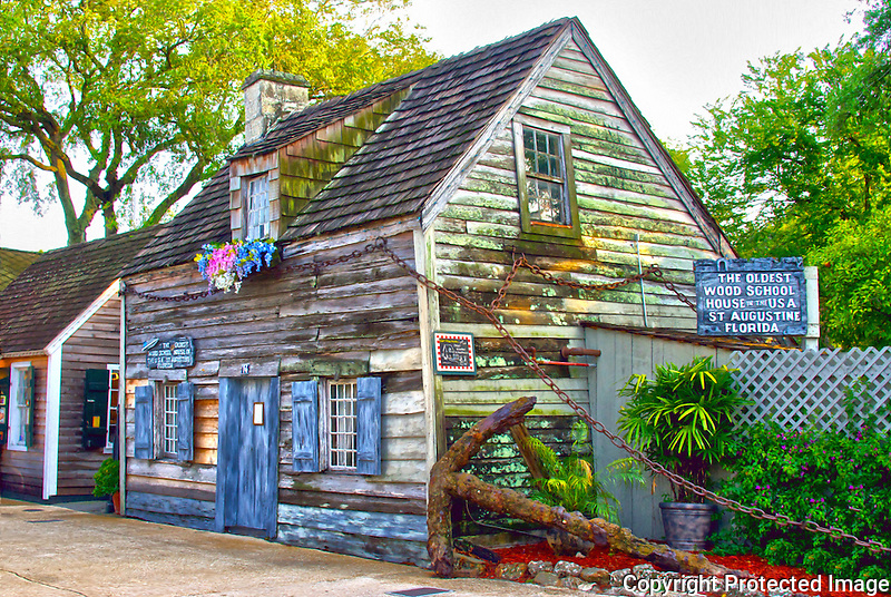 The Oldest Wood School House in the United States. It is located on St. George Street in historic downtown St. Augustine, Florida.