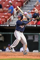 Gwinnett Braves second baseman Tommy La Stella (11) at bat during a game against the Buffalo Bisons on May 13, 2014 at Coca-Cola Field in Buffalo, New  York.  Gwinnett defeated Buffalo 3-2.  (Mike Janes/Four Seam Images)