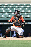 Baltimore Orioles catcher Austin Wynns (55) during an Instructional League game against the Tampa Bay Rays on September 15, 2014 at Ed Smith Stadium in Sarasota, Florida.  (Mike Janes/Four Seam Images)