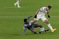 ST PAUL, MN - OCTOBER 28: Jacori Hayes #5 of Minnesota United FC and Diego Rubio #11 of Colorado Rapids battle for the ball during a game between Colorado Rapids and Minnesota United FC at Allianz Field on October 28, 2020 in St Paul, Minnesota.
