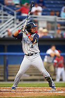 Brooklyn Cyclones designated hitter Ali Sanchez (4) at bat during a game against the Batavia Muckdogs on July 6, 2016 at Dwyer Stadium in Batavia, New York.  Batavia defeated Brooklyn 15-2.  (Mike Janes/Four Seam Images)