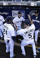 04 October 2009: Seattle Mariners #24 Ken Griffey Jr (left), #51 Ichiro Suzuki (center) and #5 Mike Sweeney (right) do a pre-game dance before playing the Texas Rangers. Seattle won 4-3 over the Texas Rangers at Safeco Field in Seattle, Washington.