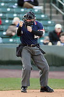 April 15th 2008:  Home plate umpire R.J. Thompson during a game at Frontier Field in Rochester, NY.  Photo by:  Mike Janes/Four Seam Images