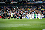 The two teams face each other before the match Real Madrid vs Napoli, part of the 2016-17 UEFA Champions League Round of 16 at the Santiago Bernabeu Stadium on 15 February 2017 in Madrid, Spain. Photo by Diego Gonzalez Souto / Power Sport Images