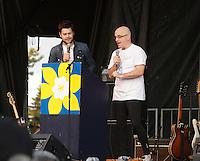 Montreal (QC) CANADA - June 8 2012 -  Relai pour la vie de la Societe canadienne du cancer  2012 - Montreal-Centre au Parc Maisonneuve -  Maxime Charbonneau, MC (L) , Dr Alain Vadeboncoeur (R)