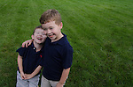 Nate and Zach outdoors at Barb and Richard's home, Columbus, Ohio, USA