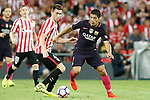 Athletic de Bilbao's Aymeric Laporte (l) and FC Barcelona's Luis Suarez during La Liga match. August 28,2016. (ALTERPHOTOS/Acero)