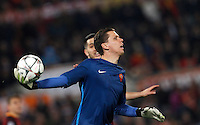 Calcio, andata degli ottavi di finale di Champions League: Roma vs Real Madrid. Roma, stadio Olimpico, 17 febbraio 2016.<br /> Roma's goalkeeper Wojciech Szczesny handles the ball during the first leg round of 16 Champions League football match between Roma and Real Madrid, at Rome's Olympic stadium, 17 February 2016.<br /> UPDATE IMAGES PRESS/Riccardo De Luca