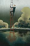 Illustrative image of businessman climbing ladder of success represents rebuilding loss