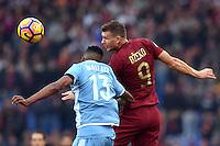 Edin Dzeko Roma, Wallace Lazio.<br /> Roma 4-12-2016  Stadio Olimpico<br /> Campionato Serie A, Derby<br /> Lazio -  AS roma<br /> Foto Antonietta Baldassarre / Insidefoto