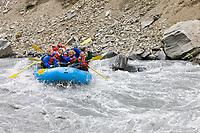 Whitewater rafting through the Keystone Canyon near Valdez, Alaska.