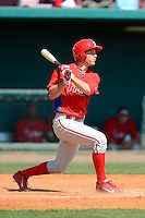 Philadelphia Phillies infielder Mitch Walding (16) during a minor league Spring Training game against the Atlanta Braves at Al Lang Field on March 14, 2013 in St. Petersburg, Florida.  (Mike Janes/Four Seam Images)