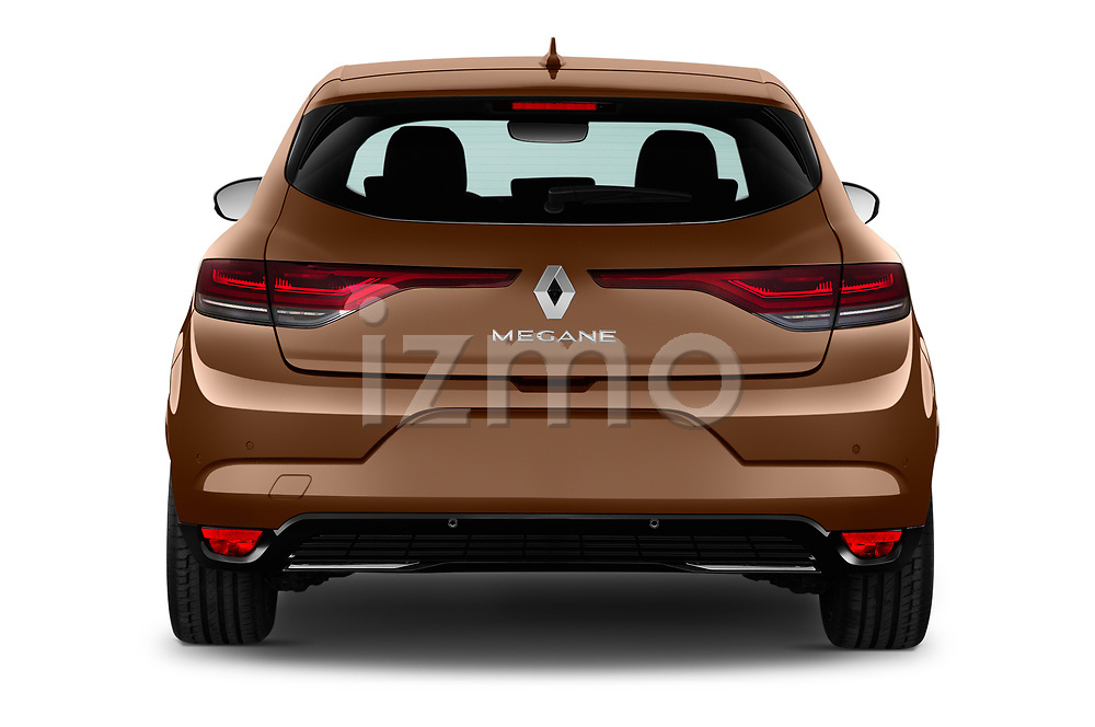 Straight rear view of 2020 Renault Megane Edition-One 5 Door Hatchback Rear View  stock images