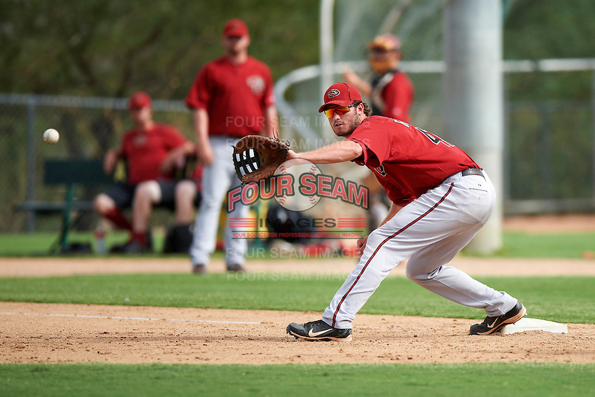 Arizona Diamondbacks minor league infielder Jon Griffin #47 during an instructional league game against the Oakland Athletics at the Papago Park Baseball Complex on October 11, 2012 in Phoenix, Arizona.  (Mike Janes/Four Seam Images)