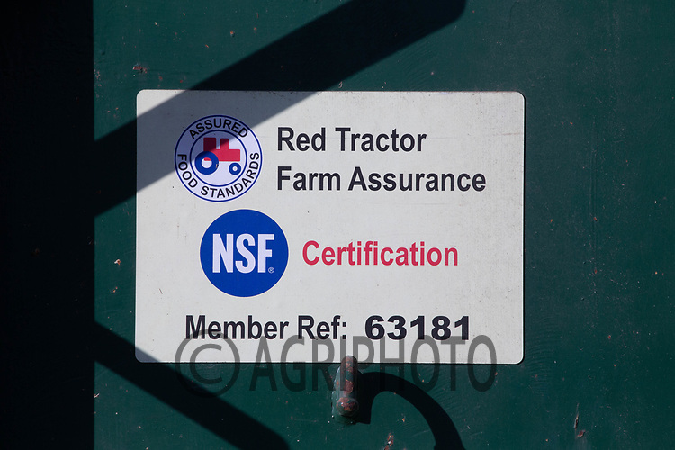 9.9.2020 NSF Certification sticker on a farm trailer Red Tractor Farm Assurance<br /> ©Tim Scrivener Photographer 07850 303986<br />      ....Covering Agriculture In The UK.