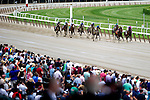 Fans crowd the apron for an undercard race on Belmont Stakes day at Belmont Park in Elmont, New York on June 8, 2013.