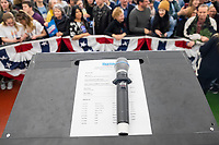 A microphone and event schedule lay on the podium after Democratic presidential candidate and Vermont senator Bernie Sanders spoke at a campaign event at Hampshire Hills Athletic Club in Milford, New Hampshire, on Tue., Feb. 4, 2020. The event started around 7pm and was the first event Sanders held after the previous day's Iowa Caucuses. The results of the caucuses were unknown until the Democratic party released partial numbers at 5pm, showing Sanders and former South Bend, Ind., mayor Pete Buttigieg both as frontrunners.