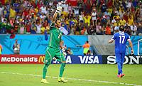 Costa Rica goalkeeper Keylor Navas celebrates after saving the penalty of Theofanis Gekas of Greece during the shootout