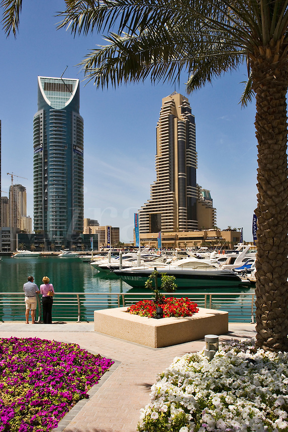 Dubai Marina with Grosvenor House Hotel. Dubai. United Arab Emirates. People model released.