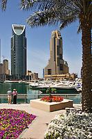 Dubai Marina with Grosvenor House Hotel. Dubai. United Arab Emirates. People model released.
