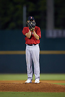 Pitcher Michael Morales (33) of East Pennsboro HS in Enola, PA playing for the Boston Red Sox scout team during the East Coast Pro Showcase at the Hoover Met Complex on August 2, 2020 in Hoover, AL. (Brian Westerholt/Four Seam Images)
