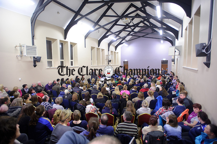 A full house at an emergency meeting called by the West Clare Family Resource Centre in Kilrush Community Centre, following news that West Clare Early Years has closed with the loss of fifty three jobs. Photograph by John Kelly.