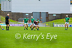 Causeway's Gavin Dooley in possession as he side steps the challenges of Ballyduff's Thomas Slattery, Jack O'Sullivan and Eoin Ross in round 2 of the County Senior Hurling championship,
