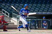 Kansas City Royals left fielder Anderson Miller (16) follows through on his swing during an Instructional League game against the Cincinnati Reds on October 2, 2017 at Surprise Stadium in Surprise, Arizona. (Zachary Lucy/Four Seam Images)