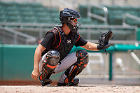 GCL Orioles catcher Matt Beaird (24) waits to receive a pitch during a game against the GCL Red Sox on August 9, 2018 at JetBlue Park in Fort Myers, Florida.  GCL Red Sox defeated GCL Orioles 10-4.  (Mike Janes/Four Seam Images)