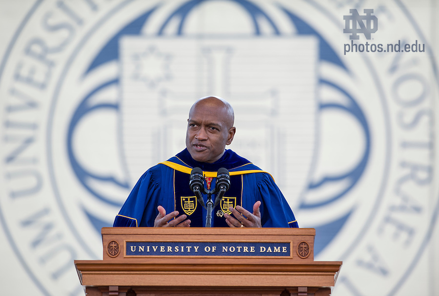 May 18, 2014; Rev. Ray Hammond, MD, founder of Bethel African Methodist Episcopal Church in Boston and Commencement speaker delivers his address at the 2014 Commencement ceremony in Notre Dame Stadium. Photo by Barbara Johnston/University of Notre Dame