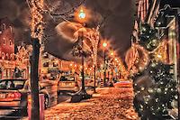 Oakville downtown nighttime winter street view over the Christmas season.
