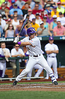 LSU Tigers shortstop Alex Bregman (8) at bat against the TCU Horned Frogs in the NCAA College World Series on June 14, 2015 at TD Ameritrade Park in Omaha, Nebraska. TCU defeated LSU 10-3. (Andrew Woolley/Four Seam Images)