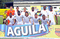 FLORIDABLANCA -COLOMBIA, 11-FEBERERO-2015.  Formacion  de Aguila de Pereira contra  Alianza Petrolera durante encuentro  por la fecha 3 de la Liga Aguila I 2015 disputado en el estadio Alvaro G—mez Hurtado de la ciudad de Floridablanca./ Team  of Aguilas of Pereira against of Alianza Petrolera  during match for the third date of the Aguila League I 2015 played at Alvaro Gomez Hurtado stadium in Floridablanca city Photo:VizzorImage / Jose Martinez  / STR