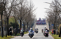 breakaway group just formed (and hiding behind the motorbikes)<br /> <br /> Stage 1 from Lido di Camaiore to Lido di Camaiore (156km)<br /> <br /> 56th Tirreno-Adriatico 2021 (2.UWT) <br /> <br /> ©kramon