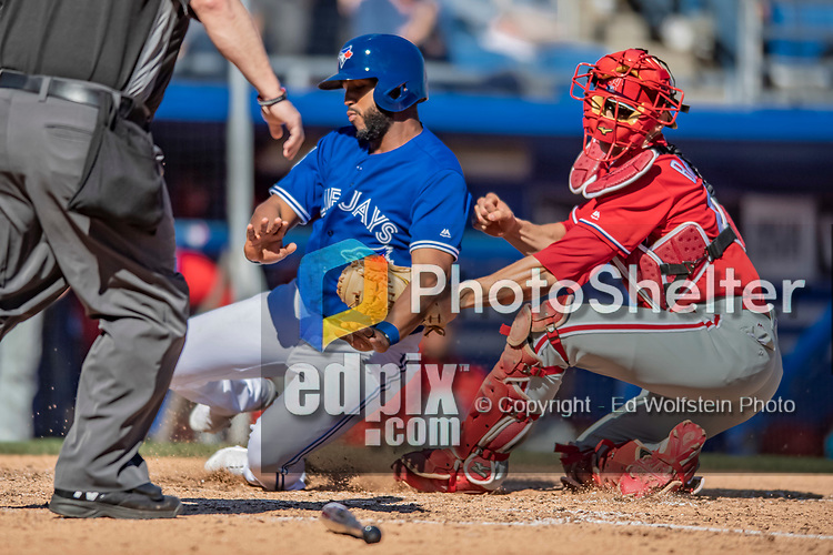 6 March 2019: Toronto Blue Jays infielder Richard Urena slides home safely to score in there 5th inning of a Spring Training game against the Philadelphia Phillies at Dunedin Stadium in Dunedin, Florida. The Blue Jays defeated the Phillies 9-7 in Grapefruit League play. Mandatory Credit: Ed Wolfstein Photo *** RAW (NEF) Image File Available ***