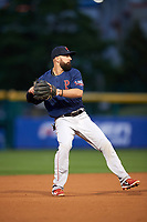 Pawtucket Red Sox shortstop Deven Marrero (17) throws to first base during a game against the Buffalo Bisons on August 31, 2017 at Coca-Cola Field in Buffalo, New York.  Buffalo defeated Pawtucket 4-2.  (Mike Janes/Four Seam Images)