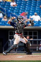 Quad Cities River Bandits catcher Michael Papierski (9) throws to third base during a game against the West Michigan Whitecaps on July 23, 2018 at Modern Woodmen Park in Davenport, Iowa.  Quad Cities defeated West Michigan 7-4.  (Mike Janes/Four Seam Images)