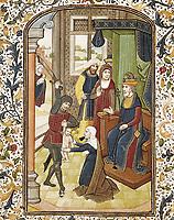 VRELANT, Willem (1410-1481). Book of Hours of Leonor de la Vega. 1465-1470. Judgement of King Solomon. Flemish art. Miniature