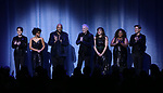 """Julian Diaz-Granados, Khalia Wilcoxon, Ruben Studdard, Clay Aiken, Farah Alvin, La'Nette Wallace and Ken Arpino during the Opening Night Curtain Call for """"Ruben & Clay's First Annual Christmas Show"""" on December 11, 2018 at the Imperial Theatre in New York City."""