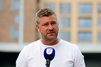 4th September 2021; Merton, London, England;  EFL Championship football, AFC Wimbledon versus Oxford City: A disappointed Oxford United manager Karl Robinson answers questions from the written press after AFC Wimbledon beat Oxford United 3-1