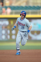 Billy McKinney (15) of the Buffalo Bison rounds the bases after hitting a home run against the Charlotte Knights at BB&T BallPark on August 14, 2018 in Charlotte, North Carolina. The Bison defeated the Knights 14-5.  (Brian Westerholt/Four Seam Images)