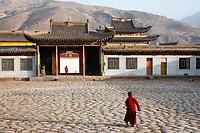 Rongwu Monastery in the town of Rebgong (Chinese name - Tongren) on the Qinghai-Tibetan Plateau. China.