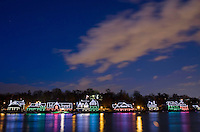 The colorful lights of Boat House Row reflect in the chilly waters of the Schuylkill River on January 1, 2008.