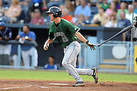 Augusta GreenJackets catcher Ben Turner #28 swings at a pitch during a game against the Asheville Tourists at McCormick Field on June 27, 2013 in Asheville, North Carolina. The Tourists won the game 10-6. (Tony Farlow/Four Seam Images)