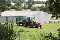 5.9.2020 Farmers chatting in from of a Claas tractor and Bailey trailer <br /> ©Tim Scrivener Photographer 07850 303986<br />      ....Covering Agriculture In The
