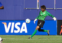 Briana Scurry kicks the ball. USA defeated Brazil 2-0 at Giants Stadium on Sunday, June 23, 2007.