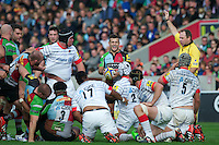 Danny Care of Harlequins shows his delight as Harlequins are awarded a penalty for Saracens collapsing the scrum during the Aviva Premiership match between Harlequins and Saracens at the Twickenham Stoop on Sunday 30th September 2012 (Photo by Rob Munro)
