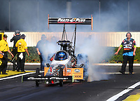 Feb 14, 2016; Pomona, CA, USA; NHRA top fuel driver Clay Millican during the Winternationals at Auto Club Raceway at Pomona. Mandatory Credit: Mark J. Rebilas-USA TODAY Sports