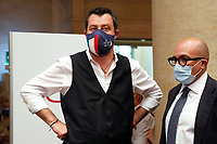 Matteo Salvini, secretary of Lega party during the presentation of the candidates at the next elections for the mayor of Rome for the center-right coalition.<br /> Rome (Italy), June 11th 2021<br /> Photo Samantha Zucchi Insidefoto